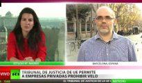 El podemita Ibrahim Miguel Ángel Pérez Ramírez, en una entrevista a la TV de Putin, siendo entrevistado por Rusia Today.