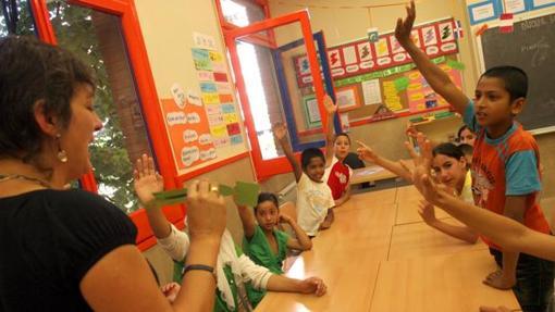 Interior de una clase en un centro escolar en Cataluña (foto ABC)