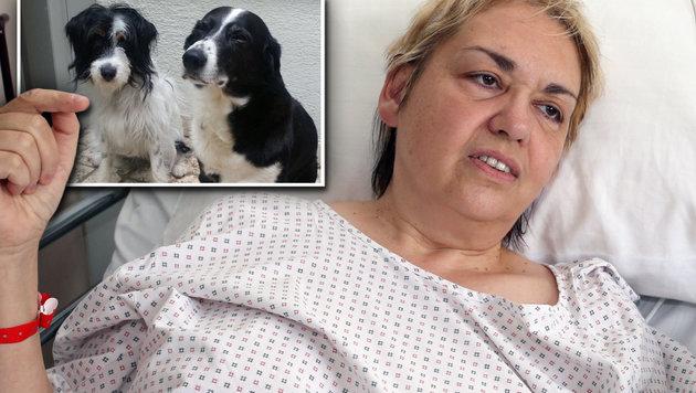 Ingrid Trenker, en la cama del hospital, muestra las imágenes de sis dos mejores amigos.
