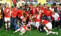 Los jugadores de Independiente Santa Fe al ganar la Superliga 2017
