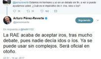 Arturo Pérez-Reverte ha avanzado en Twitter que la institución aceptará el uso de «iros» como imperativo del verbo ir a partir de otoño
