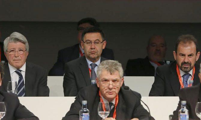 Ángel María Villar, durante una Asamblea de la Federación Española.