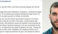 Captura del mensaje publicado por Joan Ribet en Facebook que después fue eliminado - EL PERIÓDICO DE CATALUÑA