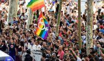 Imagen de grupos ultraizquierdistas congregados en las Ramblas (AFP)