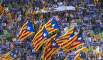 Esteladas en la manifestación de Barcelona.