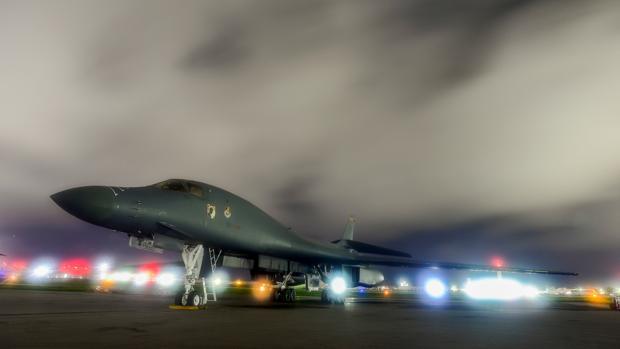 Un bombardero B-1B Lancer en la Base de la Fuerza Aérea Andersen, en Guam