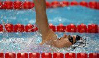 Mireia Belmonte durante la final de los 400m estilos femeninos del Mundial de Natación de Budapest