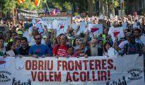 Manifestación en Barcelona a favor de la apertura de fronteras.