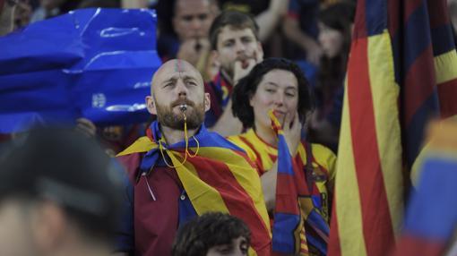 Pitada al himno español por separatistas catalanes.