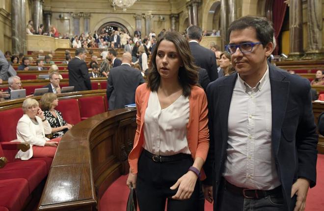 Los diputados de Ciudadanos en el Parlament Inés Arrimadas y José María Espejo-Saavedra.