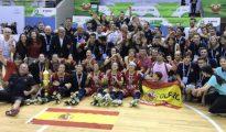 España celebra el triunfo en hockey patines Real Federación Española de Patinaje