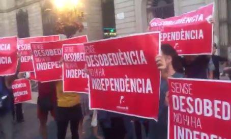 Unas 800 personas se han manifestado a favor del referéndum en la plaza de Sant Jordi