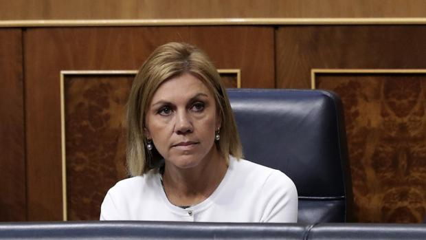 La ministra de Defensa, María Dolores de Cospedal, hoy en el Congreso