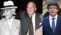 De izquierda a derecha, los presidentes de la Generalitat Francesc Macià (1931-1932), Josep Tarradellas (1954-1980) y Carles Puigdemont (desde 2016)