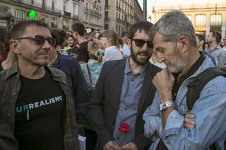 Monedero, el exjemad Rodríguez y el diputado Del Olmo en la manifestación.