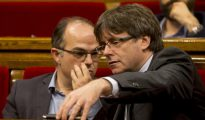 El expresidente de la Generalitat, Carles Puigdemont , junto al exconseller de la Presidencia Jordi Turull