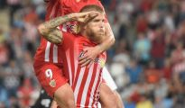 Morcillo celebra su gol ante el Sevilla Atlético