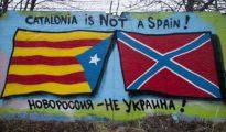 Una pintada en algún lugar de Rusia: 'Cataluña no es España, Novorrosiya no es Ucrania'.