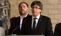 El presidente de la Generalitat, Carles Puigdemont, durante su comparecencia
