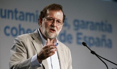 El presidente del Gobierno, Mariano Rajoy, interviene en la clausura de la reunión de la 23 Unión Intermunicipal del Partido Popular, celebrada hoy en Zaragoza