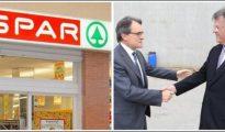 Artur Mas saluda a Joaquim Vidal, dueño de los supermercados Valvi y Spar.