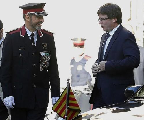 Josep Lluis Trapero, ayer en la Diada con Puigdemont