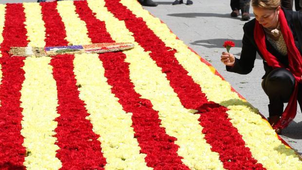 Bandera de Aragón confeccionada con flores