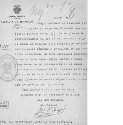 Carta enviado al Gobierno Civil por el alcalde de Benaocaz (La Voz)