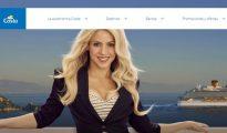 Página de inicio de la web de Costa Cruceros con la cantante Shakira