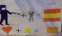 Dibujo infantil pegado en la fachada de un colegio de Barcelona - ABC