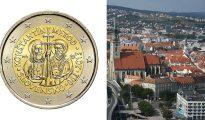 La Comisión Europea ordenó a Eslovaquia que rediseñara sus monedas conmemorativas eliminan a los santos cristianos Cirilo y Metodio. (Imágenes: Comisión Europea –moneda–; Frettie/Wikimedia Commons –Bratislava, Eslovaquia–).