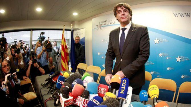 Imagen de la rueda de prensa de Puigdemont en Bruselas