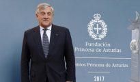 El presidente del Parlamento Europeo, Antonio Tajani, en Oviedo antes de recoger el premio Princesa de Asturias a la Concordia, otorgado este año a la Unión Europea