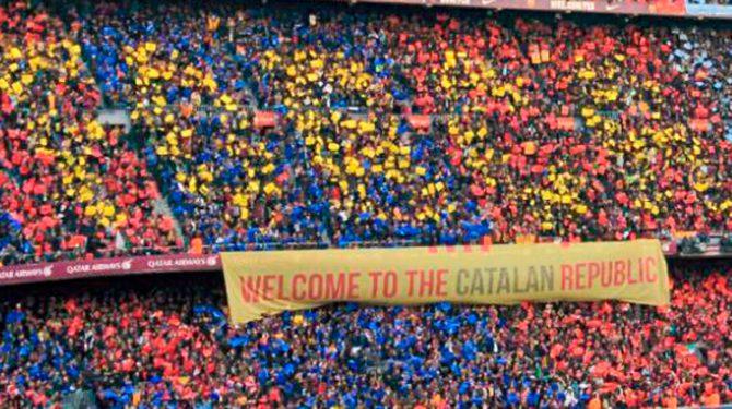 Pancarta de la ANC en el Camp Nou (Foto: @assemblea)