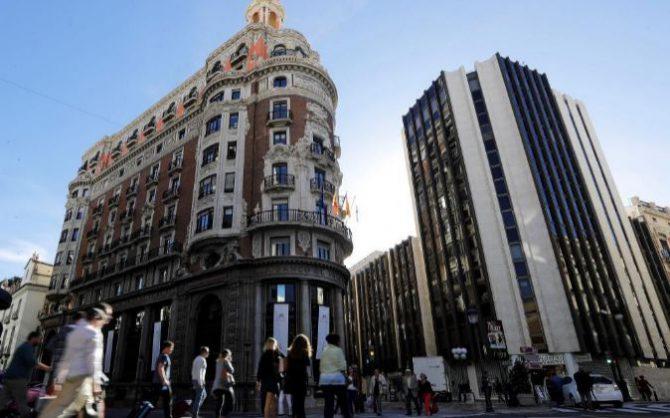Edificio histórico de Banco de Valencia en Valencia, la nueva sede social de CaixaBank