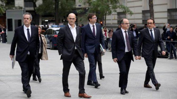 Los exconsejeros, a su llegada a la Audiencia Nacional.