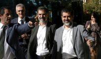 Los presidentes de la Asamblea Nacional Catalana, Jordi Sànchez, y de Òmnium Cultural, Jordi Cuixart