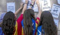 Menores participan en una movilización en favor de la independencia en las jornadas previas al 1-O