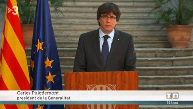 TV3 emite el mensaje de Puigemont el pasado 28 de octubre.