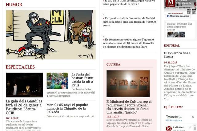 La viñeta, junto a una noticia relacionada y el editorial del jueves 16.