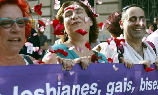 Inmaculada Colau, en el desfile del Orgullo Gay.