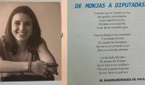 La diputada de Podemos, Irene Montero, junto al poema objeto de la polémica.