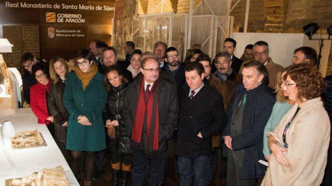 El presidente de Aragón visita por primera vez las obras de Sijena.