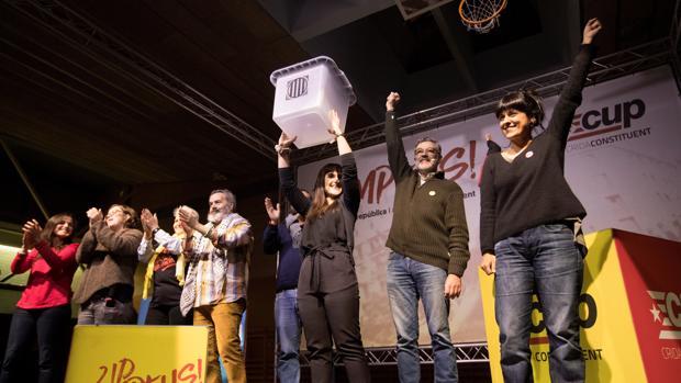 Imagen reciente de un mitin de la CUP durante la campaña del 21-D