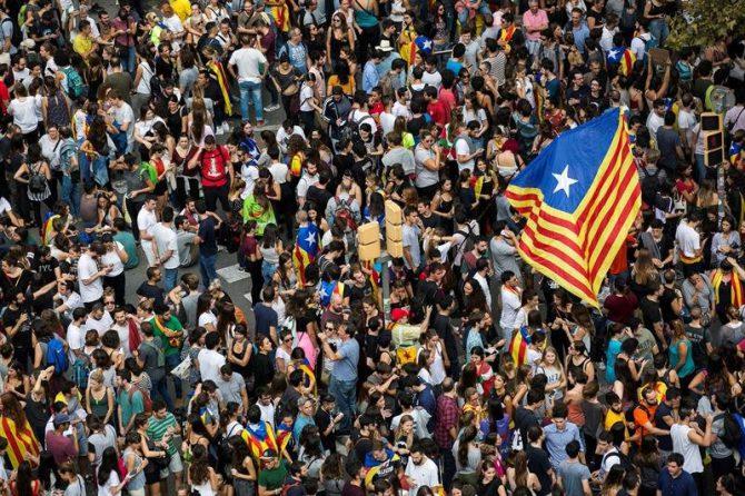 Vista de la Plaza Universidad de Barcelona, durante una manifestación en apoyo al paro general