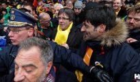 Puigdemont, durante la manifestación en Bruselas