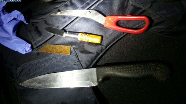 Parte de las armas incautadas a los pandilleros - POLICÍA NACIONAL