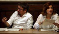Los diputados electos de En Comú Podem Xavier Domenech y Elisenda Alamany