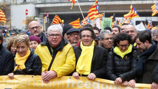 Manifestacion de los golpistas en Bruselas por la independencia de Cataluña.