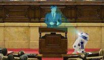 Así sería una sesión virtual en el Parlamento de Cataluña (imagen de e-noticies)